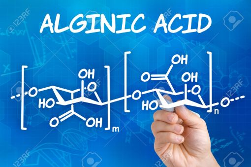 Hand with pen drawing the chemical formula of Alginic acid